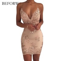 BEFORW Womens Gold Black Sequin Dress Sexy V-neck Backless Women Dresses Sundress Luxury Party Club Wear Mini Sequined Dress XL