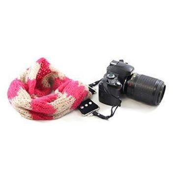 Cozy Chevron Hot Pink Scarf Camera Strap - Capturing Couture - CASCARF-CCHP