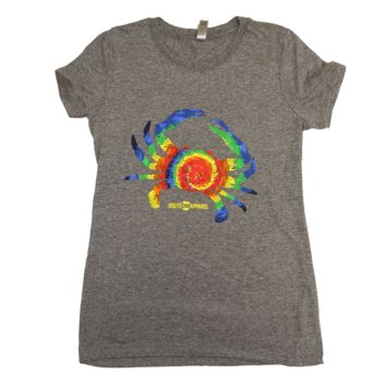 Rainbow Tie Dye Crab (Heather Grey) / Ladies Shirt