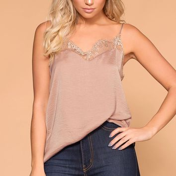 Dreamy Taupe Satin Lace Cami