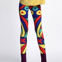 Contrast Color Geometrical Pattern Leggings [NCSPS0077] - $42.99 :
