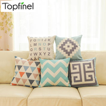 Geometric Decorative throw Pillow case Linen Cotton Cushion Cover Creative decoration for Sofa Car covers 45X45cm