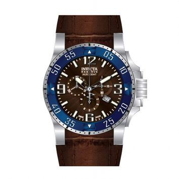 Invicta 10912 Men's Reserve Excursion Blue Bezel Brown Textured Dial Chronograph Brown Leather Strap Dive Watch