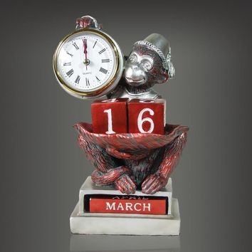 Monkey sculpture Table Clocks
