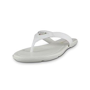 Prada Women's Patent Leather Sandals, White 1Y449F