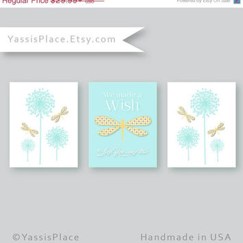 Dandelion art, Baby Girl Nursery Decor, Dragonfly Art, We made a wish and you came true, 3 prints, baby gift, YassisPlace, DES-001