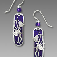 Adajio Earrings - Violet Capsule with Shiny Silver Tone Metal Art Nouveau Overlay