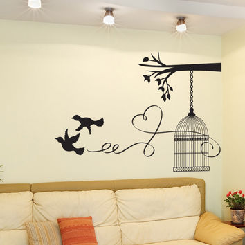 Vinyl Wall Decal Sticker Love Birdcage #OS_DC669