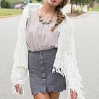Scallop Suede Skirt : Swoon Boutique