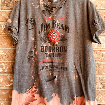 Jim Beam bleached, distressed novelty tee