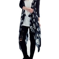 CA Mode Women's Skull Print Open Cardigan Asymmetric Blouse Top