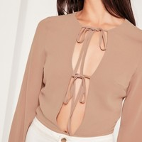 Missguided - Square Plunge Tie Front Bodysuit Nude