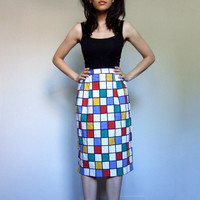 80s Checkered Pencil Skirt Colorful Knee Length Simple Skirt Red Yellow Blue Green Primary Colors - Medium Large M L