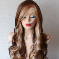 Coffee / Strawberry  Blonde Ombre wig.  Daily wearing wig. Long Curly hair side bangs Fashion ombre hairstyle High quality synthetic wig.