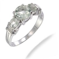 Sterling Silver Green Amethyst 3 Stone Ring (1.70 CT)
