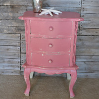 Distressed Shabby Chic Dark Pink Nightstand with Drawers