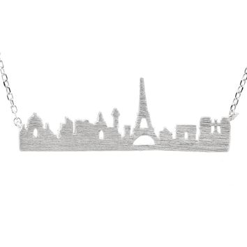 Sterling Silver Brush Metal Eiffel Tower Paris Charm Necklace