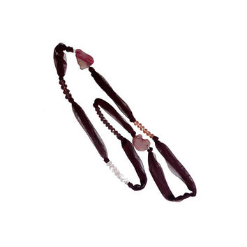 Fabric  burgundy necklace with beads and agates one of a kind - Soft collection