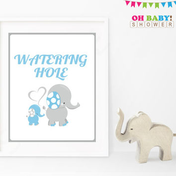 Elephant Baby Shower Decor, Boy Baby Shower Sign, Watering Hole Table Sign, Blue Gray, Instant Download, 8x10 Printable, Sign, Boy, ELLBG