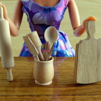 Lot of Barbie Doll Kitchen Accessories - Wooden utensils in scale 1\6 - Kitchen doll diorama
