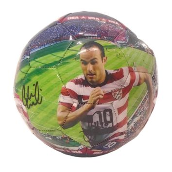 2010 USMNT Team Autographed World Cup Photo Soccer Ball w/ 4 Sigs, Proof Photo