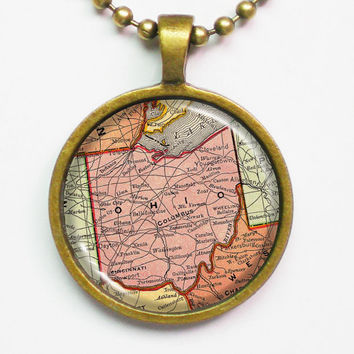 State Map Necklace - Ohio -Vintage Map Series