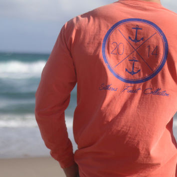 Southerns Finest Nautical Long Sleeve Pocket T-Shirt Anchor Cute Southern Prep Preppy