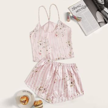 Floral Print Striped Satin Cami Pajama Set