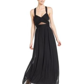 Betsy & Adam Sleeveless Illusion Cutout Gown | macys.com
