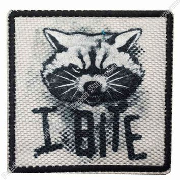 """3"""" Guardians of the Galaxy Rocket Raccoon I Bite Movie TV Series Costume Embroidered Emblem applique iron on patch"""