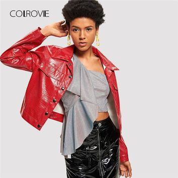 Trendy COLROVIE Red Crocodile Embossed Faux Leather Jacket Coats 2018 Autumn Female Crop Coats Outwear Fashion Streetwear Women Coats AT_94_13