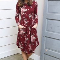 Wine Long Sleeve Floral Dress