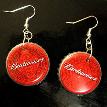 Recycled Bottle Cap Earrings Budweiser Beer