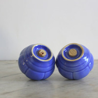 Art Nouveau Art Deco Mauve Blue Riviera Salt and Pepper Shakers by Homer Laughlin Circa 1930s