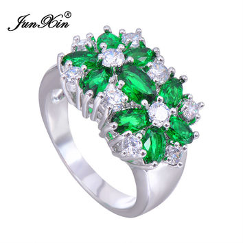 Emerald Flower White Gold Filled Ring Anel Women Green Star CZ 10KT Finger Rings Women Fashion Sapphire Jewelry Size6-10 RW0046