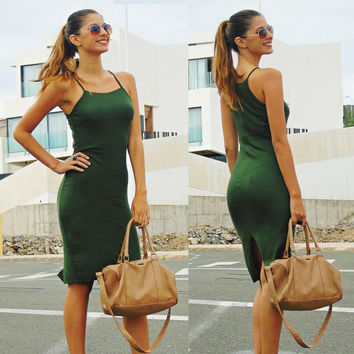 Green Spaghetti Strap Sleeveless Dress