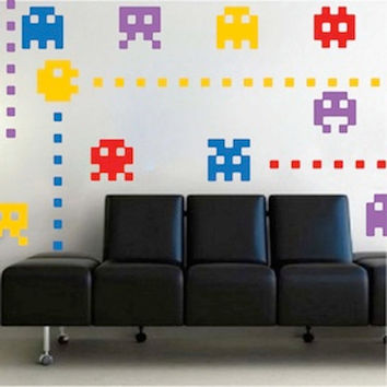 Atari Kids Bedroom Wall Decals, 8 Atari Character Stickers, Kids Wall Art, Nursery Wall Designs, Cool Wall Stickers, Video Games Wall Decals