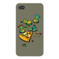 "Apple iPhone Custom Case 5 / 5S White Plastic Snap On - ""Pizza Lover"" TV Show Cartoon Movie Parody w/ Turtles Eating Pizza"