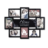 "Decorative Black Plastic ""Home"" Wall Hanging Collage Picture Photo Frame"