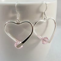Pink and Silver Heart Shaped Earrings | Silver Plate Earrings | Silver Womens Earrings