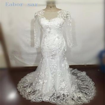 Vintage Lace Long Sleeve Mermaid Wedding Dress Sexy Sheer Appliques Scoop Neck Court Train Wedding Gowns