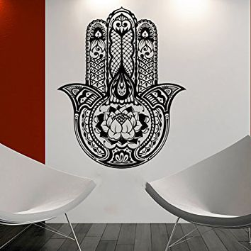 Wall Decal Vinyl Sticker Decals Hamsa Hand Lotus Flower Yoga Namaste Indian Ornament Fatima Hand Wall Stickers Home Decor Art Bedroom Design Interior Mural C5