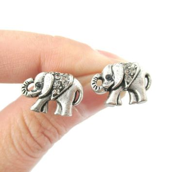 Classic Elephant Shaped Stud Earrings in Silver with Rhinestones | Animal Jewelry
