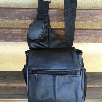 Black Leather Sling Bag, Crossbody Bag, Unisex Leather Sling Bag, Unisex Backpack, Hipster Sling Bag, Hipster Crossbody Bag, Patchwork Bag