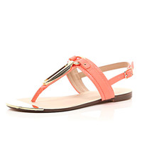 River Island Womens Coral snake print gold trim sandals