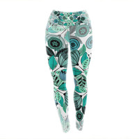 "Famenxt ""Mint Sognare"" Green Abstract Yoga Leggings"