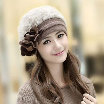 LMFCI7 2017 New Fashion Winter Fashion Two Flower Rabbit Fur Hat Winter Hat For Women/Girl Free Shipping