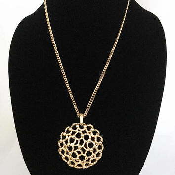 Classic 1970s Designer Signed Monet Gold Tone Dome Medallion, Open Work Design Pendant with Thin Chain