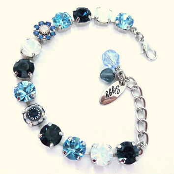 Swarovski crystal tennis bracelet, 8mm blue and white opals with cute flower accents, siggy design, GREAT PRICE