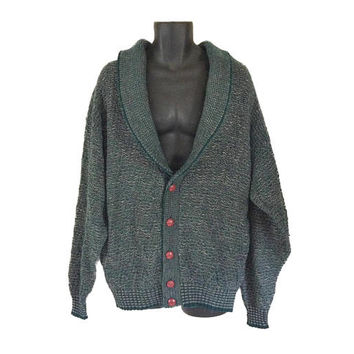 Grandpa Cardigan Men Cardigan Sweater Men Green Sweater Shawl Collar Sweater Men Green Cardigan Grandpa Sweater Button Down Sweater Clothes